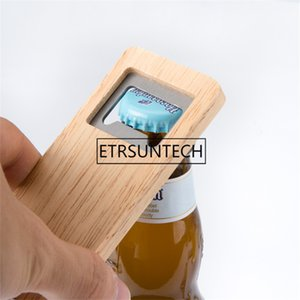 10pcs Wood Beer Bottle Opener Wooden Handle Corkscrew Stainless Steel Square Openers Bar Kitchen Accessories Party Gift 201201