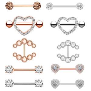 Chirurgisch Staal Tepel Piercing Hart Barbell 14G Rose Gold Crystal Tong Piercing Ring Voor Vrouwen Lichaam Sieraden Geschenken