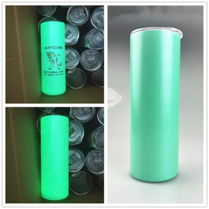 20oz Straight Sublimation Skinny Tumbler New Luminous Tumblers Glow in dark stainless steel skiny cup for sublimation absolutely straight