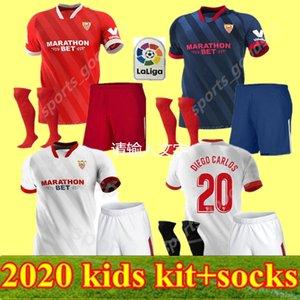 2020 Kids Kit FC Sevilla Soccer Sevilla Panega Jersey 16 Navas 11 El Haddadi 22 Vazquez 12 Kounde Rakitic Ocampos Football Hemd Kits
