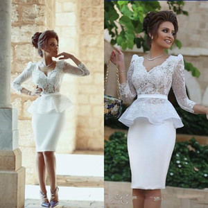 Sexy Illusion Bodice V Neck Cocktail Dresses With Sheer Lace Long Sleeves Crop Top Peplum Appliques Sheath Formal Party Gowns