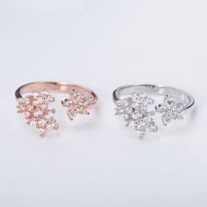 100% réel 925 Sterling Silver Anneaux ouverts pour filles Mesdames Argent / Rose Gold Plated Flower Bague Fine Mariage Bijoux YMR028