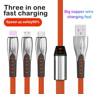 3 in 1 Zinc Alloy Braided Charging Cable Micro USB Type-C for Android Samsung Phone Charger Cord Fast Charging 1.2m
