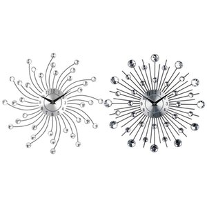 1 PCS 33 x 33 x 2.5cm 3D Reloj de pared grande Relojes 1 PCS 4.5cm Metal Art Crystal Sunburst Wall Reloj de pared