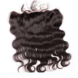 HD Transparent Brown Lace Frontal Chiusura Body Body Wave 4 * 13 orecchio a orecchio pizzo frontale capelli umani estensioni di capelli spedizione gratuita Bella capelli