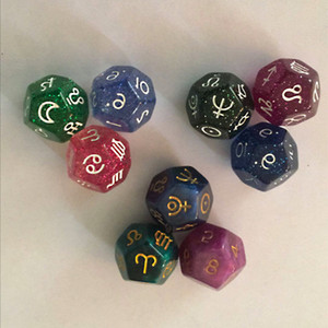 3PCS 12 Sided Tarot Dice Resin Tarot Dice Divination Dice Divination Game Table Constellation Party Game Props