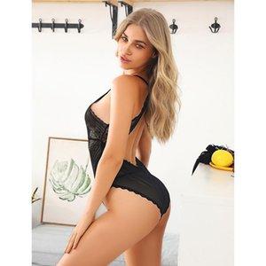 Biiggxx Dame Sexy Net Gaze Wave Point One-Piece Unterwäsche Spitze Tief V Rücken Halfter Rock Night Kleid