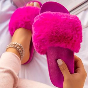New Women Shoes Summer Flat Slippers Faux Fur Furry Ladies Sandals Open Toe Platform Outdoor Slides Female Large Size Flip Flops