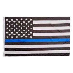 90 * 150 cm Blueline EUA Polícia bandeiras 3x5 pé fino azul linha EUA bandeira preto e azul bandeira americana com bronze ilhas hwc3982