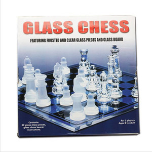 Board Game Chess Game Set Solid Glass Chess Pieces and Crystal Mirror Chess Board 10 x 10 inch For Youth Adults Gift