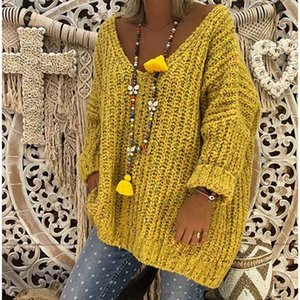 Umeko Fashion 5XL Plus Size Loose Oversized Autumn Winter V-Neck Long-sleeved Knitting Sweater Casual Lady Tops for Women
