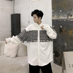Male Streetwear Hip Hop Party Dress Shirt Coat Men Vintage Fashion Plaid Splice Loose Casual Long Sleeve Shirt