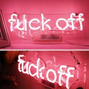 Signos de neón Fuckoff Neon Light Pink Hecho A Mano Hecho A Mano Real Tubo de Vidrio Neón Luces de Neón Signo para Bar Party Bedroom Garage 14.5x5.5 pulgadas Envío Gratis