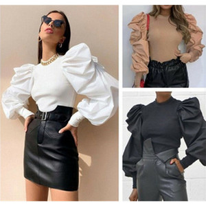 Ladies Puff Sleeve T-shirt Fashion Trend Long Sleeve Round Neck Sexy Tops Tees Designer Female Spring New Casual Slim Tshirts