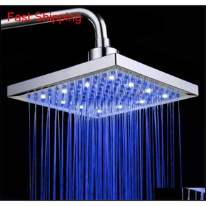 Led Shower Head Temperature 3 Color Changing 8 Inch Square Abs Chrome Finish 12 Leds For Bathroom jllkpM trustbde