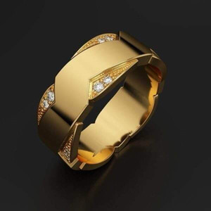 Yunjin New Fashion Mens 18K Gold Plated Artificial Diamond Ring Exquisite Engagement Ring