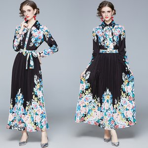 Temperament Lady Dress Long Sleeve Lapel Prom Evening Maxi Dress 2021 Spring Autumn Printed Long Dress High-end Womens Bow Pleated Dresses