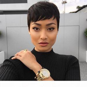 Penteado de Rihanna Nenhum Lace Wig Estilo Curto Rendas Perucas Retire Cor 1B em estoque 100% Remy Hair Feito