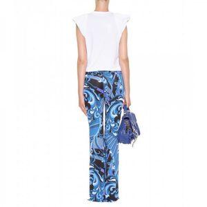 2014 Runway High Street Fashion Women's Blue Geometric Print Jersey Silk Long Flare Pants Women's Luxury Brands Trousers
