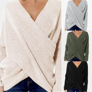 Autumn Sexy Knitted Sweater Solid Color Women Fashion V Neck Cross Front Irregular Hem Loose Jumper casual women simple pullover