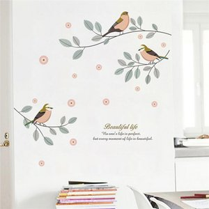 cartoon birds tree branch wall decals living room bedroom home decor pvc wall stickers diy mural art decorative posters