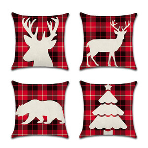Christmas Pillow Case Canvas 45*45CM ELK Printed Individual Package Christmas Pillow Cover Retro Plaid Pillowcase Bedding Supplies BWE2212