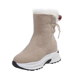 Оккди женские ботинки теплые зимние плюшевые снежные сапоги платформы плоские зимние обувь на молнии лодыжки вскользь женские туфли 2020 бархат1