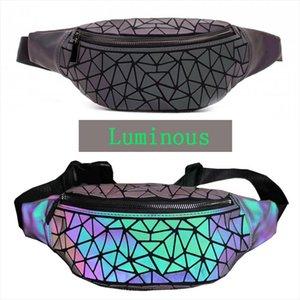 Women Bao Luminous Waist Bags Convenient Belt Bag Brand Chest Geometry Waist Packs Purse Money Belt Phone Bag