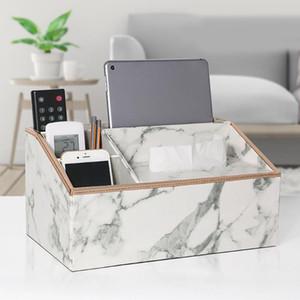Home Decor Bathroom Desktop Faux Leather Napkins Paper Organizers Simple Tissue Box Marble Pattern Cosmetics Office Restaurants