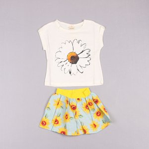 Clearance sale Summer flower girls suits Girls Outfits Kids Outfits short sleeve T shirt+skirts 2pcs set girls clothes kids suits Z240
