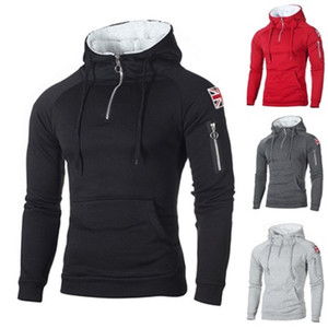 Mode Männer Hoodies Wandern Klettern Expedition Mit Kapuze Jumper Sweatshirts Freizeit Hoody Sportswear Jacke Mantel Halb Reißverschluss UK Fahne Pullove