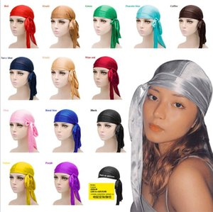 2021 Hot Fashion Men Women Silky Pirate Hat Satin Durag Bandana Turban Wigs Solid Color Headwear Headband Pigtail Hip Hop Cap Beanie