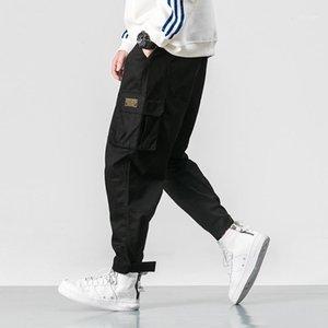 Мужские брюки случайные грузовые брюки мужские бренды одежда ноги растягивающие карманы хип-хоп оранжевый лодыжка-длина1