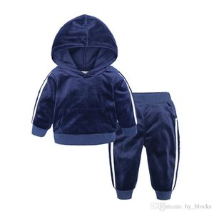 Velvet hoodies+pants 2 piece set for kids boys girls clothes 2020 toddler costume children outfits baby clothing tracksuit 1-7Y