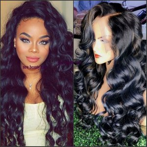 Top Quality 1b# Black Body Wave Long Wavy Cheap Wigs High Quality Heat Resistant Glueless Synthetic Lace Front Wigs for Black Women