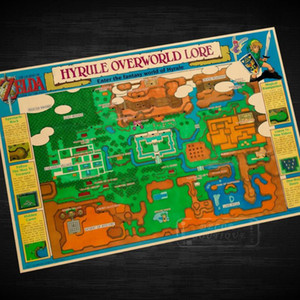 Hyrule Overworld Lore the Legend of Zelda Video Game Poster Retro Canvas DIY Wall Stickers Art Home Bar Posters Decor Gift