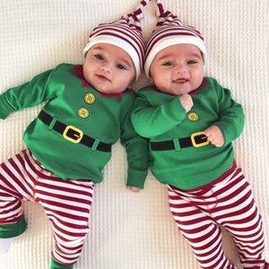 3pc Newborn Baby Clothes Long Sleeve Romper+striped Print Pants+headband Outfits Set Clothing Christmas Navidad
