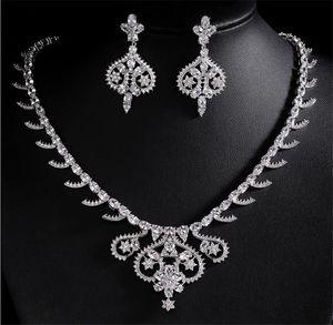 Designer Women Pendant Necklace Long Tassel Earrings Jewelry Set Wedding Bridal Zircon CZ Cubic Zirconia Dropping Earrings Prom Jewelry Red
