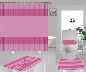 Cortina de baño de la impresión de la impresión de la manera rosa de la raya con la estera del piso del baño a prueba de patines 4pcs establece el nuevo estilo de envío gratis de la letra de la alta calidad del envío