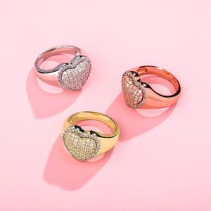 18K Белое золото, Bling Bling Heart Love Cubic Zirconia Женские кольца со льдом из бриллиантовых свадьбы Обручальное кольцо Кольцо Хип-хоп Ювелирные Изделия 652 K2