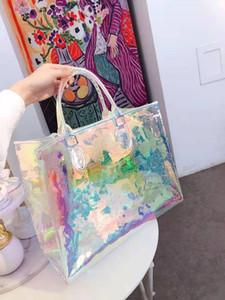 2020 weibliche blende farbe transparent tragbare laserbeutel schulter strand tasche taschen handtaschen frauen mädchen totes handtasche