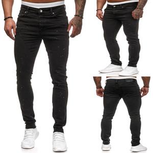 Mens déchiré Denim Jeans Skinny Skinny Fit Pantalon crayon Black Casual Hip Hop Pantalons avec des trous
