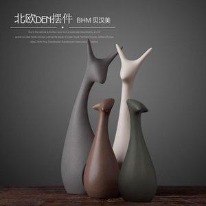 Ceramic Ceramic Home Decor Crofes Decoration Chambre Décoration Artisanat Ornement Porcelaine Chat Figurines Décorations de mariage