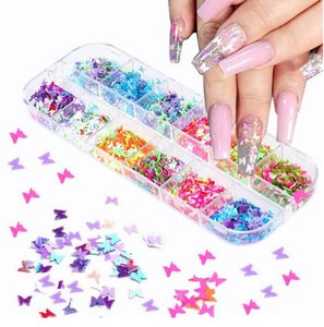 Nail Sequins Paillette Mixed Butterfly Mermaid Glitter Flakes 3D Sparkly Polish Manicure Nails Art Decorations Epacket free
