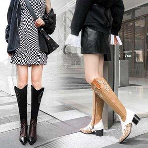 2020 heiße Frauen Schlange drucken Western Cowgirl Stiefel Weibliche PU-Leder Patchwork Cowboy Knöchelstiefel Frau High Heel Lange Botas1