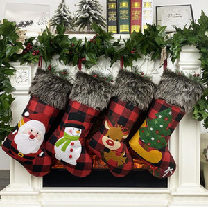 Plush Christmas Stocking Gift Bags Large Size Latticed Candy Bag Xams Tree Decoration Socks Ornament Christmas Gift Wrap GH1159