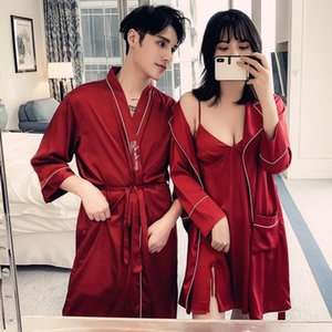 Sexy Nightwear Silk Kimono Robe Lovers Couple Nightgown Couple Sleepwear Family Pijama Lover Night Suit Robe Set