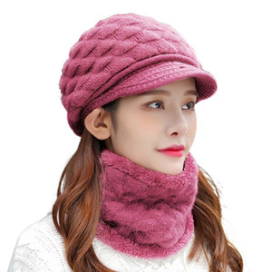 Women Winter 2Pcs Set Visor Brim Chunky Knit Beanie Hat with Circle Scarf Plush Lining Skull Baseball Cap Neck Warmer