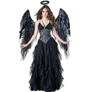 Femmes Sexy Angel Sexy Costume Femme Halloween 3pcs Sangle Spaghetti Maille Patchwork Cosplay Robes Femmes Costume de sorcière Noir