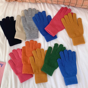 Unisex Winte Ribbed Knitted Full Fingered Gloves Solid Color women Men Classic Basic Thicken Lining Mittens Thermal Warm Gloves
